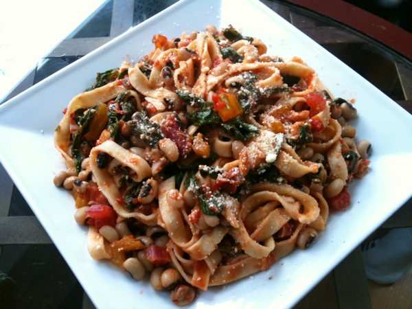 Black Eyed Pea, Rainbow Chard, with Homemade Pasta in Tomato Sauce