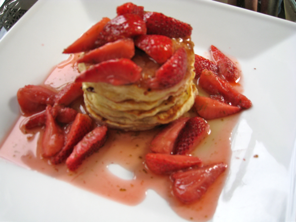 Cottage Cheese and Buttermilk Pancakes with Strawberry Lime Compote