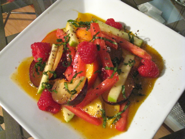 Green Apple, Marinated Tomato, Raspberry, Nectarine and Black Plums Salad with Togarashi and Jalapeno Apricot Honey Sauce