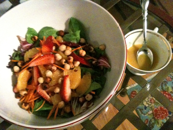Strawberry Orange and lots of Hazelnut Salad