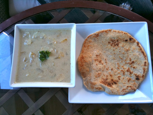 Thai Coconut Soup with Whole Wheat Homemade Flatbread