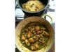 Indian Green Curry Chicken and Spiced Rice with Golden Raisin and Almond
