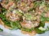 Shrimp Burgers on Homemade Daisy Shaped Carrot Bread