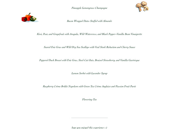 menu for Joey & Eveline