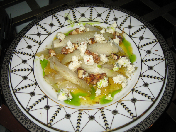 Orange with Warm Braised Belgian Endive, Walnuts, and Gorgonzola