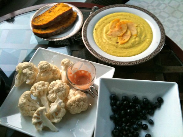 Curried Cauliflower and Saffron Apple Soup and Carrot Juice Bread -- made Fred dinner :-)