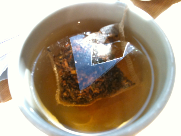 drinking tea with my lunch at MOMA