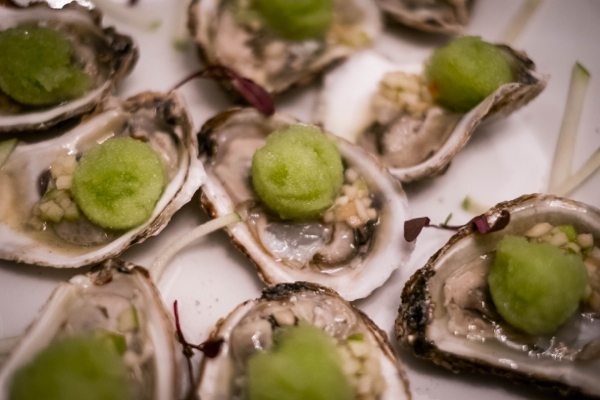 oysters with cucumber apple sorbet and green apple mignonette